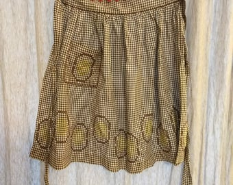 Apron Vintage Brown, White and Yellow
