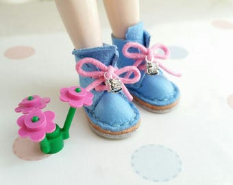 Lace Up Shoes Aqua Blue Mini Leather  Lace Up Boots For Neo Blythe Doll Pullip Dal Body Hand Made By MizuSGarden