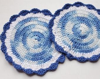 Set of 2 Crochet eco friendly trivets hot pad  - blue-white