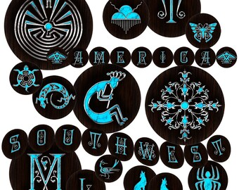 SOUTHWEST - 25mm Circles - Alphabet Native Symbols - Instant Digital Download - Collage Sheets - Stickers Jewelry Scrapbooking Arts & Crafts