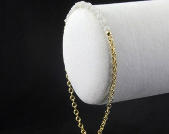 Diamond Bracelet in 14K Gold Filled - White Raw Rough Diamonds 2inch Long - Gold Ribbed Chain - Initial Tag, Personalized Disk