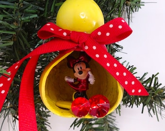 Gourd ornament,Minnie Mouse gourd,Minnie Mouse ornament,Gourd art,Christmas gourd,Christmas ornament,hand made gourd,painted gourd,Minnie,11