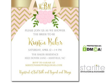 Pink Gold Bridal Shower Invitation, Pink and Gold Bridal Shower Invite, Bridal Shower Invitation Pink and Gold Printable, Printed