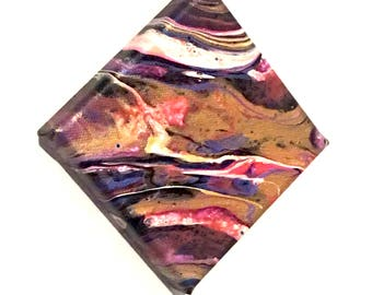 """Marbled Planet Mini Abstract Painting - Gold, Pink, Purple & White Acrylic Liquid Pour Art - 4"""" x 4"""" Ready To Hang Gallery Wrapped Canvas"""