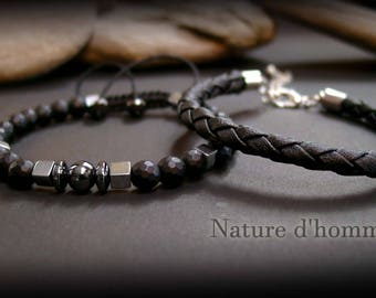 A duo of bracelets man stones and matte black leather Ref: BN-346