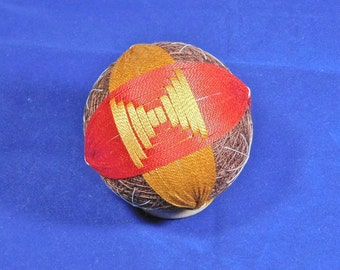 Temari Ball Ornament Red and Gold on Brown Home Decor Wedding Gift