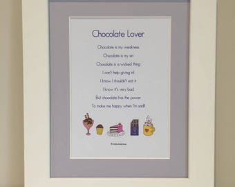 Poem lover gift etsy mothers day easter gift chocolate lover print mounted print chocolate poem negle Images