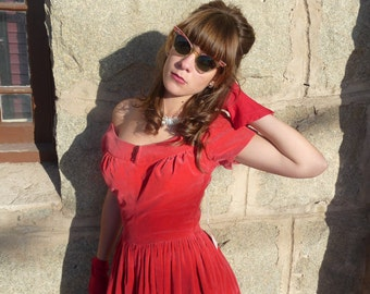 Vintage 50s Dress Lipstick Red Velvet Holiday Party Dress with Ruby Rhinestones
