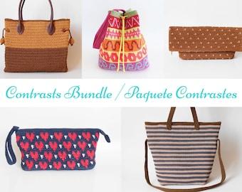 Contrasts Crochet Pattern Bundle, DIY crochet bags, Crochet Pattern Bundle, Tapestry Crochet, Hard Crochet
