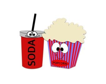 popcorn clipart soda clipart movie snacks clipart cinema rh etsy com clip art movie night clip art movie screen
