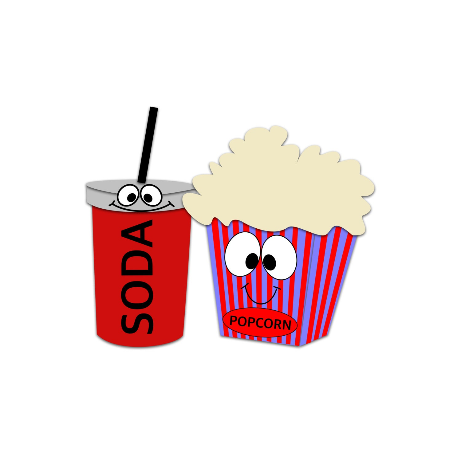 popcorn character clipart soda clipart movie snacks rh etsy com movie theatre clip art free movie theater clipart images
