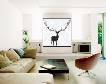 Large abstract deer Painting, deer Wall Art, Original Painting, Canvas Painting, handmade Abstract Canvas Art, Black and White wall art