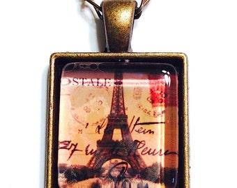 Eiffel Tower Pendant Necklace, Paris Glass Art Pendant, French Photo Pendant, Postage Stamp Necklace