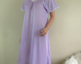 VTG Nightgown pastel purple nylon Blair 1970s Womens SZ S NG23