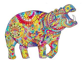 Hippo Art - Spirit Anima - Bohemian Art - Mandala- Visionary Art- Zentangle- Psychedelic Art -Reclaimed Wood Frame, Canvas, Print