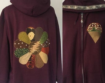Upcycled Zip Up Hoodie 3X Burgundy  Flower Hoodie Patchwork Mandala OOAK Size 22/24 Hippie clothes, upcycled hoodie, womens hoodie, flo