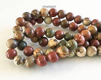 Full Strand 10mm Round Red Creek Jasper Gemstone Beads 15-Inch Strand
