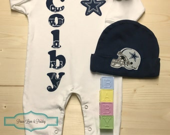 Texas baby gift etsy dallas cowboys personalized baby romper and hat set cowboys baby outfit personalized baby going home outfit baby shower gift texas baby negle Gallery