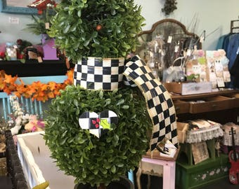 Snowman Topiary with Mackanzie Childs ribbon scarf