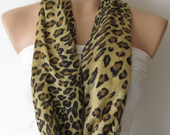 Sandybrown Leopard Patterned Scarf-Circle Scarf -Infinity Loop Scarf-Shawl Scarf-Neckwarmer-Cowl Scarf-Pashmina Scarf-Winter Accessories