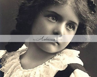 Instant Printable Download - Danish Girl Portrait Photograph Antique Black and White - Paper Crafts Altered Art Scrapbook - Photography