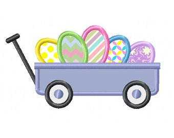 Easter Wagon...Instant Download...Applique Machine Embroidery DESIGN NO. 808