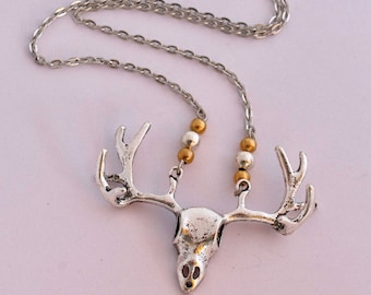 Necklace steampunk skull deer DOE skull animal Horn and silver beads