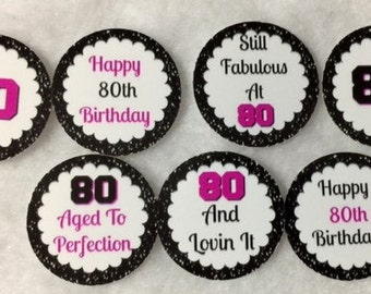 Set Of 50/100/150/200 Personalized 80th Birthday Party Pink & White 1 Inch Circle Confetti