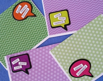 Four Handmade Greeting Cards - make things happen, live with passion, love your life, amaze yourself - green and purple
