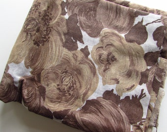 Sheer Vintage Fabric with Large Floral Pattern - Shades of Brown - Over 2 Yards