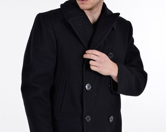 Vintage Black Wool Pea Coat L - www.brickvintage.com