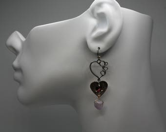 Ready to ship earrings. Sterling silver and copper earrings with amethyst and garnet. Love heart dangle earrings. All links are soldered.