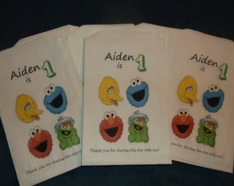 Custom Sesame Street Face Bag  with Big Bird, Cookie Monster, Elmo & Oscar Kraft Favor Bags (20) Birthday, Baby Shower, for all Occasions