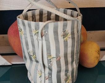 Striped Silk Bucket Handbag