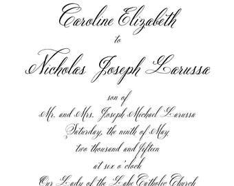 Traditional Wedding Invitation, Modern Wedding Invitation,