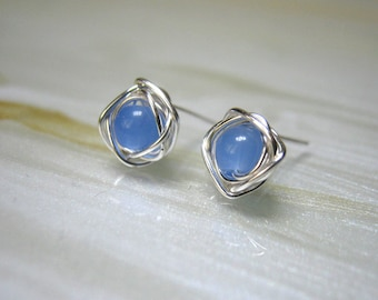 Tiny Blue Stud Earrings, Blue Post Earrings, Small Stud Earrings, Tiny Studs, Chalcedony Earrings, Bridesmaids Jewellery,