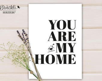 "A4 print / mural / poster ""You are my home"" for lovers, couples, Valentine's day / Valentine's day gift"