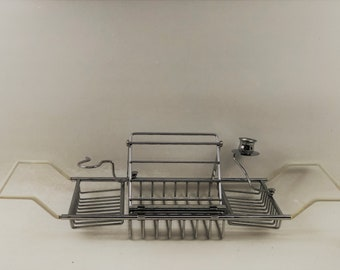 Vintage Silver Tone Bathtub Caddy With Book Stand, Candle Holder, Glass Holder
