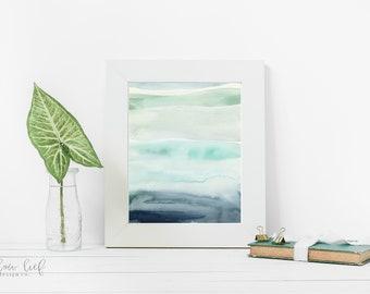 Blue Retreat, Minimal, watercolor print, wall art, watercolor painting, archival print