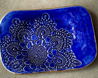 Ceramic Soap Dish Trinket Dish Cobalt Blue Lace edged in Gold