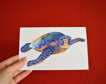 Folded postcard with envelope: print of original watercolor, Green Sea Turtle.