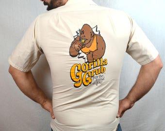 Vintage des années 80 gorille bizarre Grub bouton chemise
