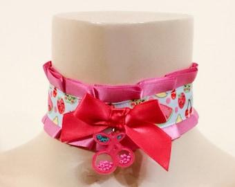 BDSM DDLG 'Pink Cherry' Handmade OOAK Collar