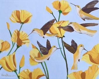 "Original Acrylic Nature Painting Titled Yellow Hummingbird Size 11"" X 14"""