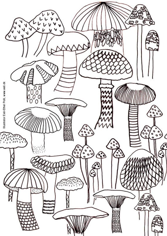 mushroom coloring sheet A4 printable instant download color
