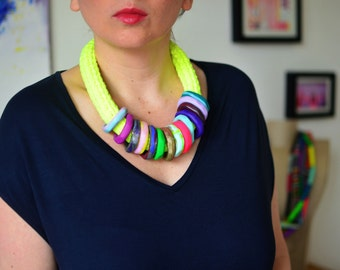 Neon necklace/neon yellow/neon jewelry/trendy summer necklace/multicolored necklace/bright necklace/statement necklace/yellow necklace