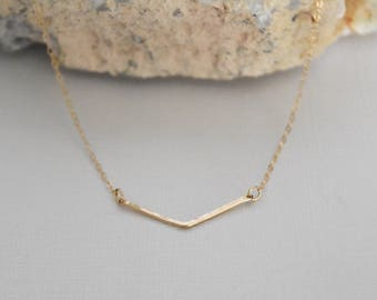 Gold chevron necklace // gift for her // bridesmaid gift // delicate gold hammered chevron necklace