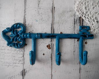 aged turquoise hook antiqued weathered leash hook scarf hook belt holder rustic decor clothing hook french country wall hook painted hook