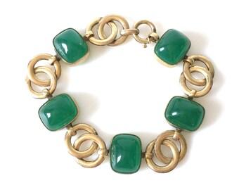 Deco Chrysoprase Gold Filled Link Bracelet