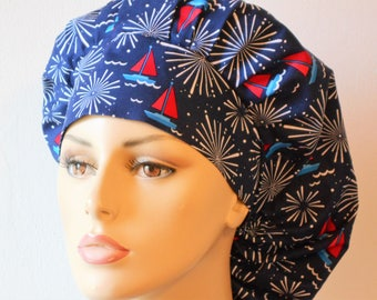Fireworks Scrub Hats/Bouffant Scrub Hats/Sailing Under the Patriotic Seas/Red White and Blue Scrub Hats/Labor Day Scrub Hats/SilverCaps/Gift